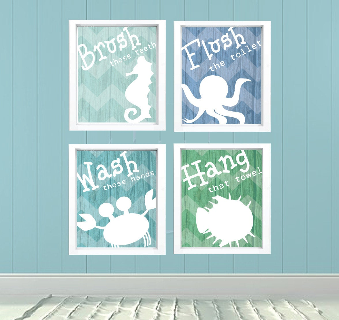 Kids bathroom signs undersea theme fish octopus starfish crab for Bathroom fish decor