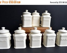 10% SALE SHIPS 15 October Set of 8 Vintage French Herb & Spice Ceramic Canisters Jars Storage Containers