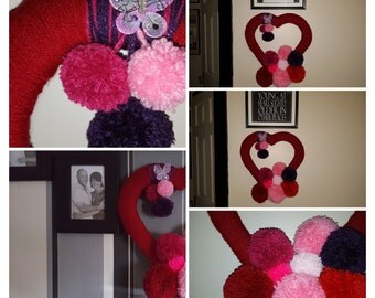Handmade heart wreath/wall art all yarn with yarn pompoms