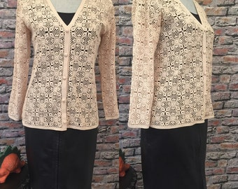Vintage Ecru Cotton Crochet Cardigan  Size Medium