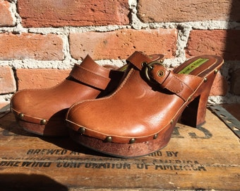 1970's Vintage Penny Loves Kenny Chunky Platform Leather Clogs, Size 8