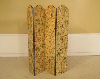 28167E:  Paint Decorated 4 Panel Room Divider Folding Screen