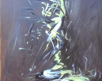 "Original oil painting by Nalan Laluk:""Garden by Moonlight"""