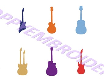 GUITAR Design for Embroidery machine  / motifs guitare pour broderie machine / INSTANT DOWNLOAD