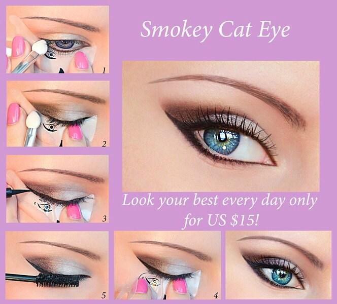 Quick Eye Makeup Stencils Eyeliner Eyeshadow Eyebrow Tool Free