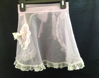 Vintage Sheer Pink Apron with Lace