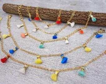 Multicolor Tassel Chain Bracelet // Boho Tassels// Chosse your favourite color