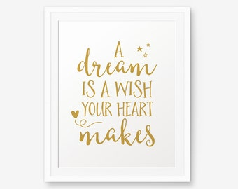 A Dream is a Wish Your Heart Makes, Nursery Gold Printable, Princess Quote, Girl Room Decor, Cinderella quote