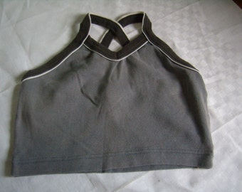 Vintage tank top/top, mini top, grey, cotton jersey, 90 s