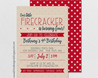 4th of July, Little Firecracker Birthday Party Invitation 1, With or Without Photo, Customized, Digital File