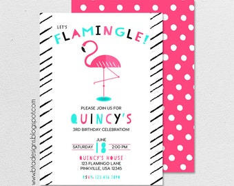 Pink Flamingo Birthday Party Invitation 1, Customized, Digital File