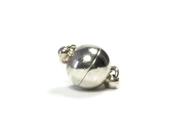 8 mm Magnetic Clasp, Sterling Silver Round Strong Magnetic Clasp