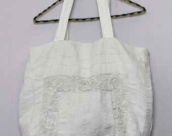 Boho Chic Upcycled Vintage Linen Tote Bag