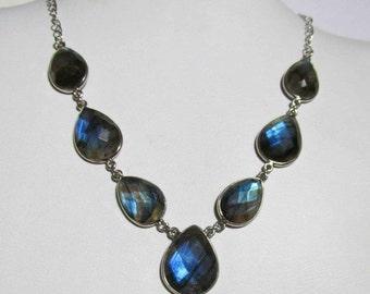 20% VALENTINES SALE Labradorite Statement Necklace, Labradorite Silver Necklace, Labradorite Faceted Necklace, Labradorite Chain Necklace Ox