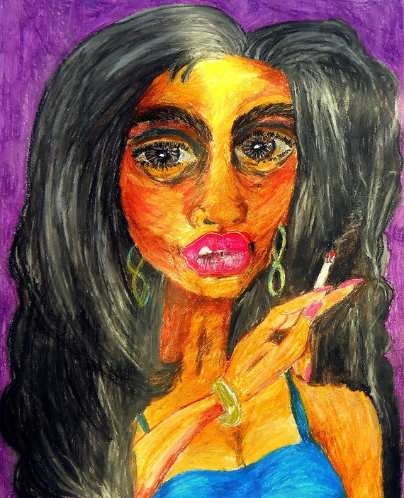 """VIOLINE Oil Pastel abstract painting Afrocentric woman, 20 x 16"""" image on Paper Outsider Folk Art, African American Artist Stacey Torres"""