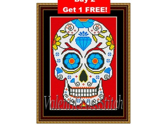 Sugar Skull Counted Cross Stitch Pattern, Mexican Cross Stitch, Skull, Sugar, Cross, Stitch, Counted, Patterns,PDF