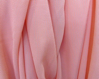 Coral pink on ivory off white viscose small check pattern gingham fabric