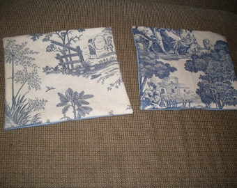 """Two Blue and Cream Toile Pillow Covers ONLY  11"""" x 11"""""""