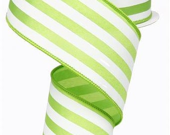 """2.5""""X10yd Vertical Stripe On Satin Wired Edge Ribbon ( lime green/white)"""
