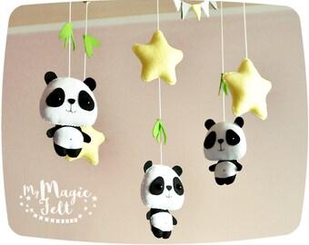Baby mobile Panda and stars Crib mobile Nursery woodland mobile Stars mobile Panda baby shower gift