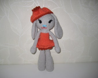 Handmade Crochet Bunny Rabbit Doll, Stuffed Animal Toy, Stuffed Bunny Rabbit