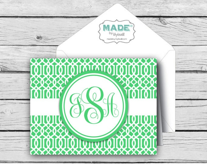 Personalized Kelly Green Trellis NOTE CARD Set, Made-to-Match Cards, Birthday Gifts, Printed Thank You Cards, Stationery
