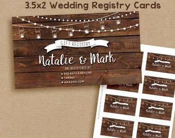 Wedding Registry Card, printable rustic wedding registry card