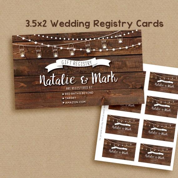 Wedding Registry Card, printable rustic wedding registry card