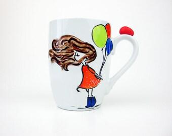 Girl with Balloons Mug,  Balloon Mug, Birthday Mug, Colored Balloons Mug, Little Girl Mug,  Cute Girl Mug, Cute Mugs, 3D Mugs,