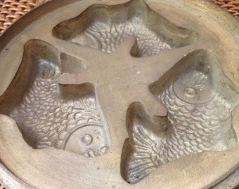 Old cast brass Fish mold
