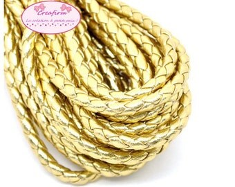 5 m cord round braided leather Gold 5mm