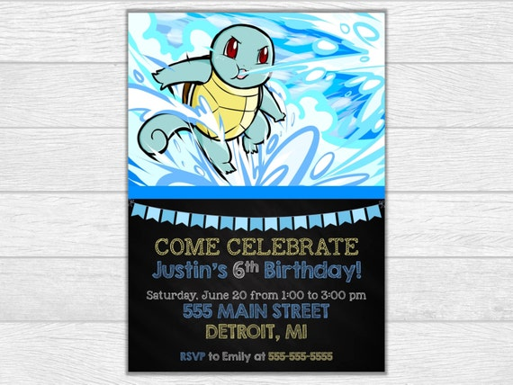 Pokemon invitation pokemon birthday pokemon invite birthday printable invitation digital download squirtle invitation squirtle invite