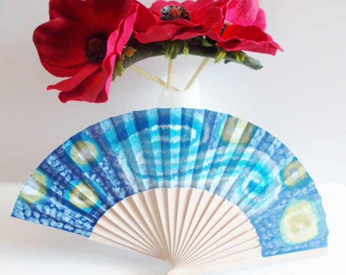 handpainted fan cotton fabric and wood with non toxic acrylics and matte varnish on top, starry night by mademeathens, wooden fan hot summer