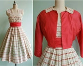 Vintage 1950s Pink Floral Striped Dress and Jacket | Size Small