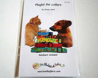 Playful Pet Collars Pattern--Pick A Favorite Fabric And Create A Unique Collar--Shipping Included