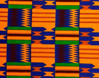 Kente African Print Fabric Cotton Print 44'' wide By The Yard (19004-3)