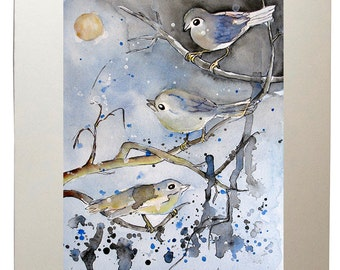 Three Birds Moon Watercolor Art Prints from Original Painting, Matted to 11x14