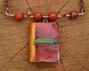Polymer clay creations Book pendant Book necklace Book jewelry Polymer clay necklace Handmade necklace Polymer clay book Wire wrapped