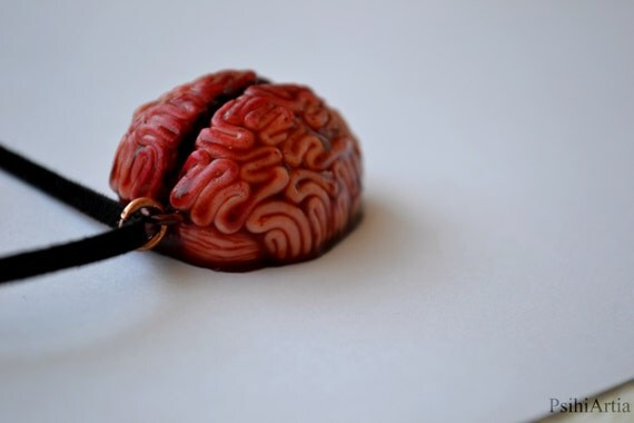 Polymer clay pendant Halloween jewelry Brain pendant Spooky necklace Brain necklace Morbid jewelry Halloween necklace Creepy jewelry Morbid