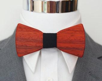 Exotic Wood Bow Tie - Paduak Wood - Suit up - Wooden Bowtie - Suits - Wood Bowtie - Men's Ties - Interchangeable Neck Strap