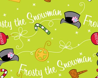 Frosty The Snowman Fabric Frosty Icon Toss-Lime Cotton Quilting Treasures
