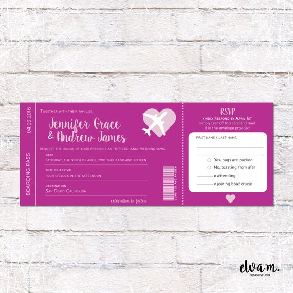 Bold Boarding Pass Wedding Invitation With Tear Off RSVP