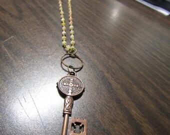 Antique copper key necklace