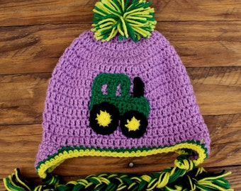 Crochet Purple John Deere Tractor Hat With Earflaps -  Size Child