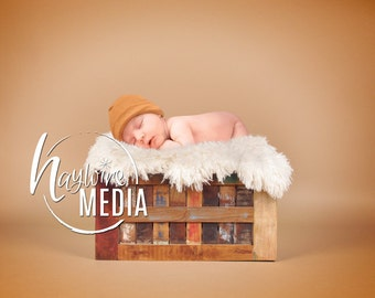 Newborn, Baby, Toddler, Child, Wooden Crate Studio Photography Digital Backdrop Prop for Photographers and PNG Fur Layer