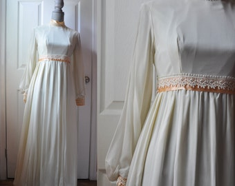 Vintage 1960s dress | cream chiffon 60s dress • Boheme dress