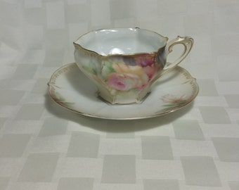 R S Prussia Fine China Teacup and Saucer set - Gorgeous Hexagon Shape Art Nuevo Style - Made in Germany