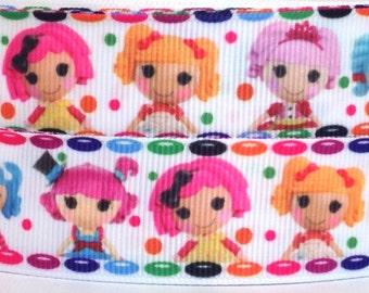 """Lalaloopsy 1"""" Grosgrain Ribbon - Lalaloopsy Ribbon - 3 yards Lalaloopsy Grosgrain Ribbon - Lala Doll Ribbon - Lalaloopsy Doll"""