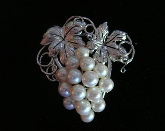 Mid-Century Large Sterling Akoya Pearl Grapes Pin/Pendant