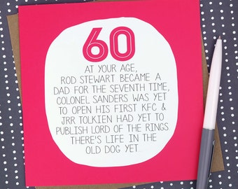 60th birthday card - At Your Age - Funny 60th Birthday Card - 60 - Sixty - Sixtieth Birthday